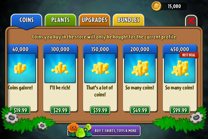 plants vs zombie 2 coins